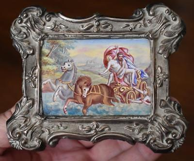 Lovely Antique Ornate Silver Framed Miniature Painting With Roman Greek Motif