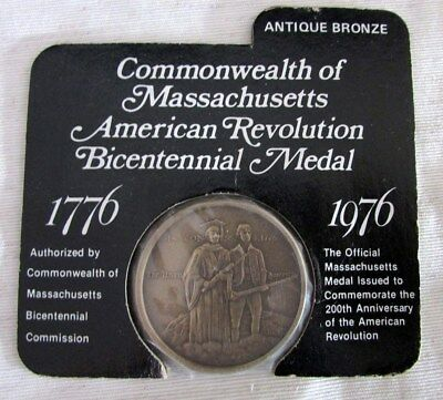 Vintage Commemorative Bicentennial Coin/Medal Massachusetts 1776 - 1976 on Card