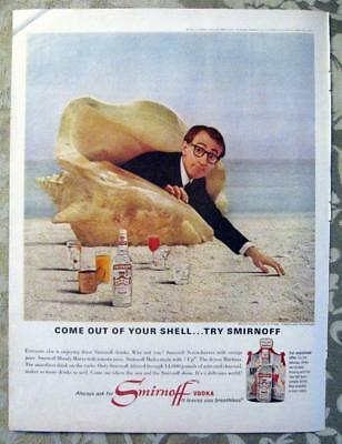 WOODY ALLEN ~ 1966 Full Page Advertisement for Smirnoff Vodka