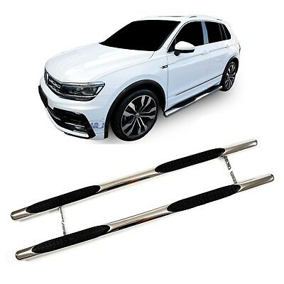 VW TIGUAN mk2 2016-up Luxury Chrome Side Steps Bars Running Boards