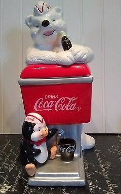 2000 COCA COLA Christmas Polar Bear & Penguin at Cooler Cookie Jar Canister DR44