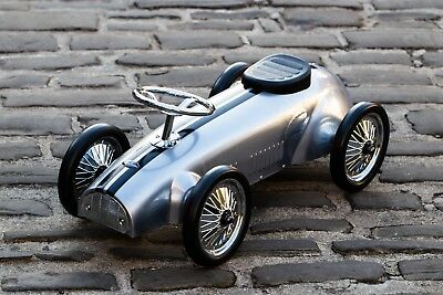 Silver ride on vintage toy metal child's push along car, a kids modern classic!