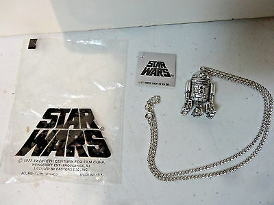 1977 STAR WARS R2-D2 NECKLACE CHAIN PENDENT 3D -Never worn - With tags