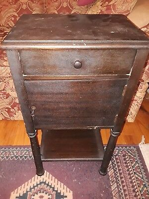 humidor  stand end table with door and key vintage tin lined