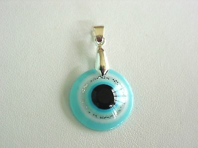 Italian Style Sterling Silver  Turquoise  Evil Eye Ancient Roman Greek Pendant