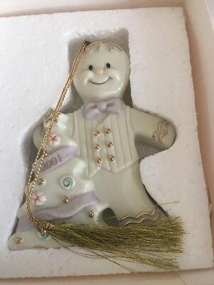 MIB-Lenox Holiday 2001 ANNUAL GINGERBREAD Christmas Ornament MINTY