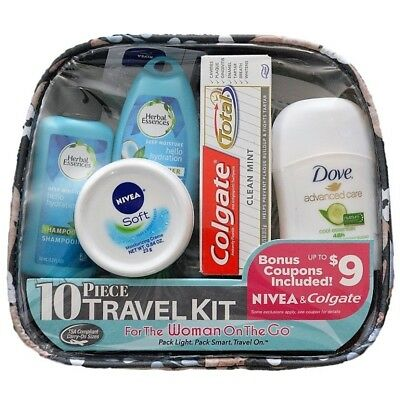 Women's 10-piece Getaway Travel Kit, TSA Compliant Carry-On Sizes All-in-One Set