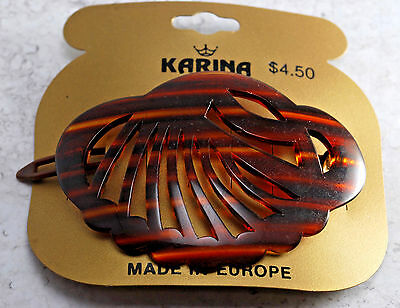 Vintage Hair Barrette Tortoise Brown Clam SHell NOC Plastic SNap Clasp