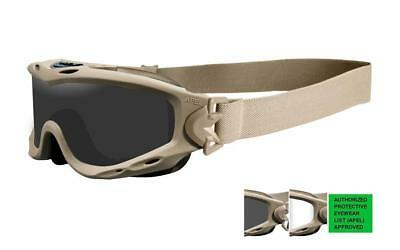 New Wiley X Spear APEL Goggle/Smoke Grey-Clear Lens/Tan Frame SP30T
