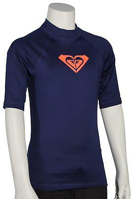 Roxy Girl's Whole Hearted SS Rash Guard - Blue Depths - New