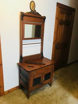 antique handmade shave vanity;straight razor and everything needed to shave with