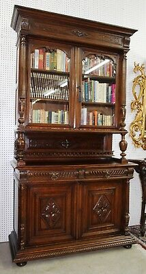 Antique Country French Solid Walnut Tall Hunt Bookcase Circa 1880