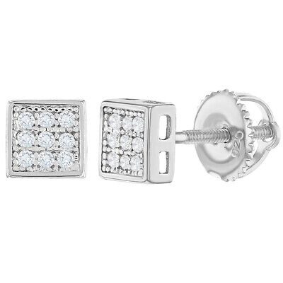 925 Sterling Silver Screw Back Earrings for Women Clear Cubic Zirconia Square