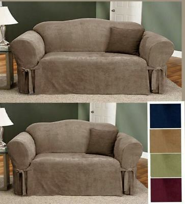 Wondrous 2 Pc Soft Micro Suede Couch Sofa Loveseat Slip Cover Brown Ncnpc Chair Design For Home Ncnpcorg