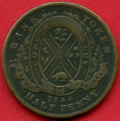 1844 Province Of Canada Bank Of Montreal Half Penny Token