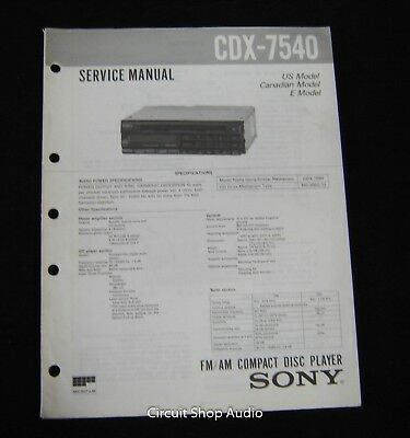 SONY SERVICE MANUAL Cdx Cdx- Series On Cd Free Usa Shipping - $9.99 on