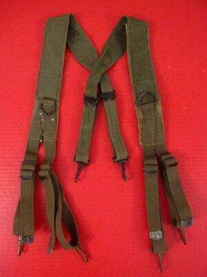 WWII Original US Army M1944 1st Pat Combat Field Suspenders w/Shoulder Pad  1945