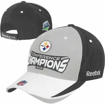 Pittsburgh Steelers 2008 Conference Champions NFL Hat Reebok New with Stickers