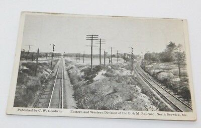 Vintage North Berwick Maine East West Division of B&M Railroad Postcard