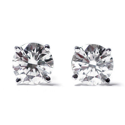 14K White Gold Diamond  I-J I1-I2 1/3 0.33 Ct Round Cut Stud Earrings Push Backs