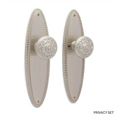 Marine Beaded Door Plate With Floral Round Knob Set Privacy  Passage  Dummy