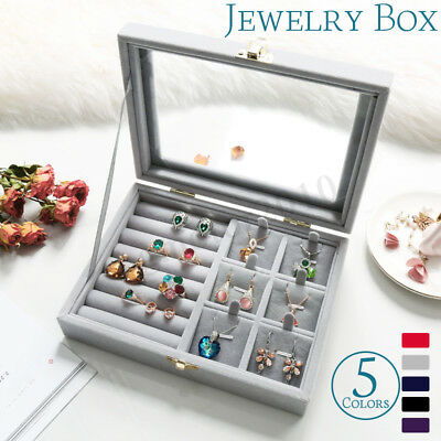 Velvet Jewelry Glass Ring Display Box Holder Necklace Earring Storage Case Home