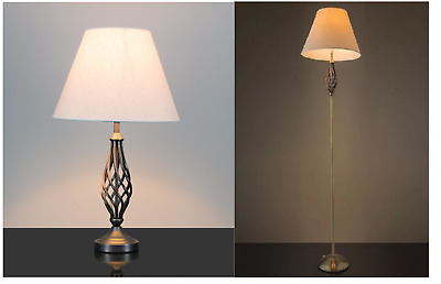 Traditional Barley Twist Lamp Antique Brass Table & Floor Light Shade Copper