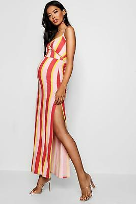 ea67ef33ac BOOHOO WOMENS MATERNITY Stripe Wrap Front Maxi Dress -  12.00