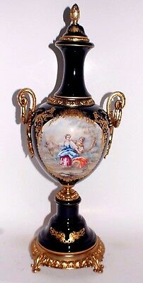 Beautiful Large 19 Inch Urn Cobalt Porcelain And Brass