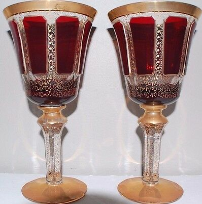 Antique Pair Large Czech Moser Ruby Cut Gold Cranberry Glass 8 Inches Tall