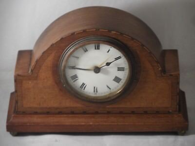 Vintage Solid Wooden Inlaid Mantle Clock Spares Repairs 16cm High x 24.5cm Wide