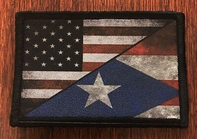 USA Puerto Rico Flag Morale Patch Military Tactical Army Badge Hook Tab
