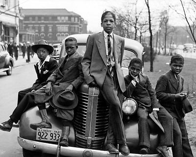 NEGRO BOYS EASTER MORNING IN CHICAGO 1941 16x20 SILVER HALIDE PHOTO PRINT