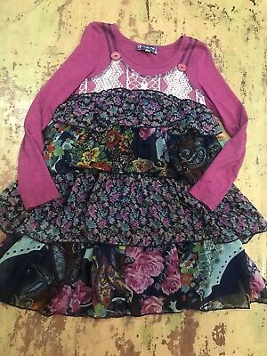 c0e858d53e0 Truly Me Nordstrom Stunning Dress Sz 7 Fall Magenta Navy Floral Ruffle