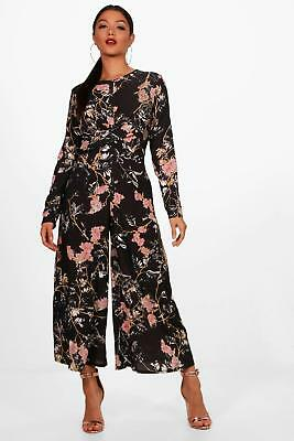Boohoo Womens Floral Knot Front Jumpsuit