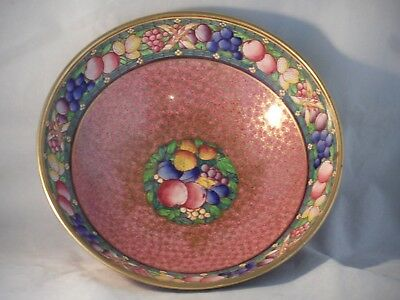c1912-1950 Mintons Hand Painted Fruit Rougue E4618 Pattern Lustre Bowl 23cm Wide