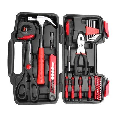 39pcs Home Hand Tool Set Kit Household Mechanics Remover Repair with Case Box