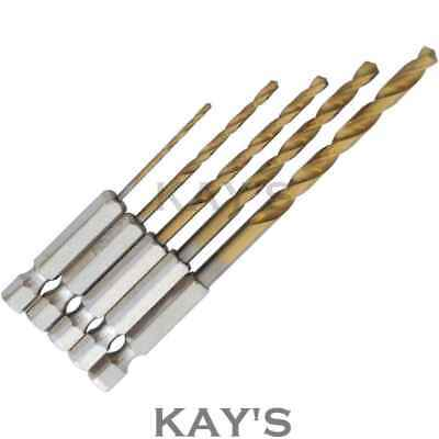 TITANIUM COATED DRILL BITS HEX SHANK  5 PIECE SET 1.5,2,2.5,3.2,4.8mm METAL,WOOD