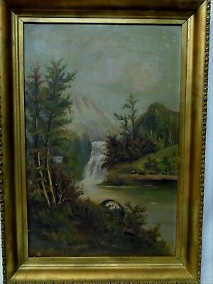 Victorian Gilt Framed Signed Oil Painting Waterfalls River Home in the Mountain
