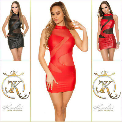 Koucla Kleid Wetlook Lederlook Go Go Minikleid mit Mesh
