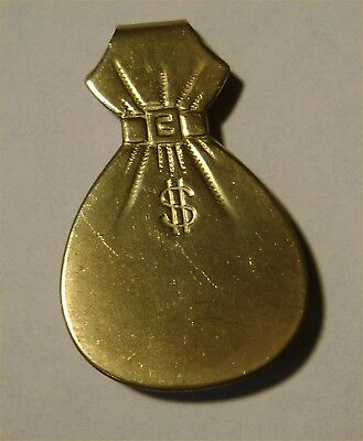 Detailed Whimsical Solid Brass MONEY BAG Vintage Clip Excellent Unused OLD Stock