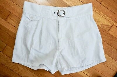 30s 40s 50s ~ VTG White Athletic Shorts ~ Buckle Front / Cool Pockets ~ SZ 34 L