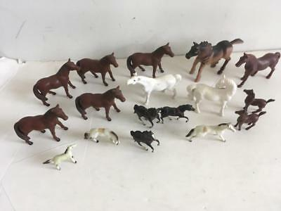 LOT 17 vintage miniature horse figurines ErtL plastic rubber ceramic vintage