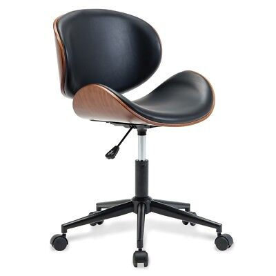 Mid-Century Office Desk Chair Adjustable Black Leather Chrome Base Bent Plywood