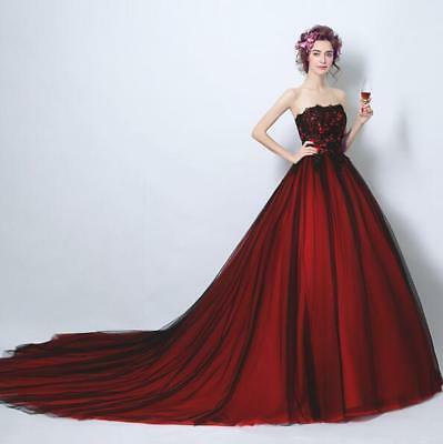 Womens Wine Red Lace Princess Wedding Dress Large Tail Slim Bridal Gown Lady Hot