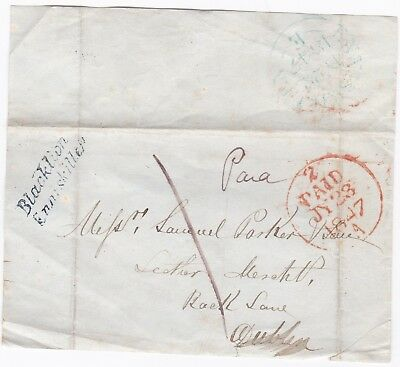 # 1847 Blacklion Enniskillen Postmark Sub Office Part Wrapper To Dublin Merchant