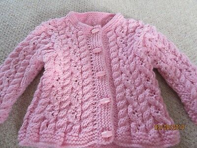 Brand New and Hand Knitted Child's Aran Cardigan - Age 1-2 Years