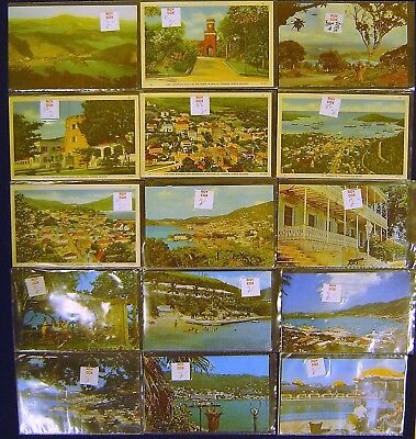 Virgin Islands Collection of 36 Chrome and Linen Postcards,