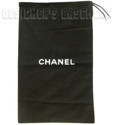 """CHANEL large black Dust Bag string tie 11 x 18"""" for Boots or Handbag NEW Authent"""