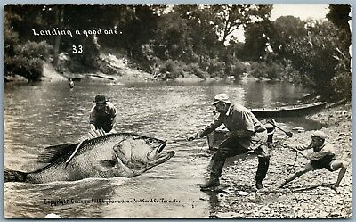 Fishing Canada Antique 1910 Exaggerated Real Photo Postcard Rppc